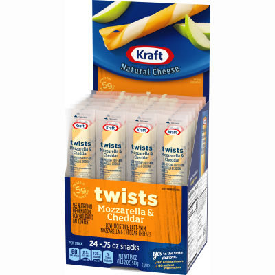 Kraft Twists Mozzarella & Cheddar Natural Cheese Snacks 24 count Box