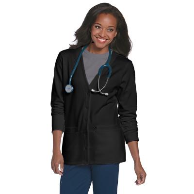 Landau Essentials 2 Pocket Scrub Jacket Women: Classic Relaxed Fit, V-Neck, Snap Front, Knit Cuff, Warm-up 3505-Landau