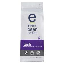 Ethical Bean Fair Trade Organic Coffee, Lush Medium Dark Roast, Whole Bean Coffee - 12oz (340g) Bag
