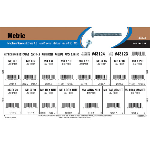 Metric Class 4.8 Phillips Pan Cheese Machine Screws Assortment (M3-0.50)