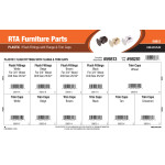 RTA Furniture Parts Assortment (Plastic Flush Fittings with Flange & Trim Caps)