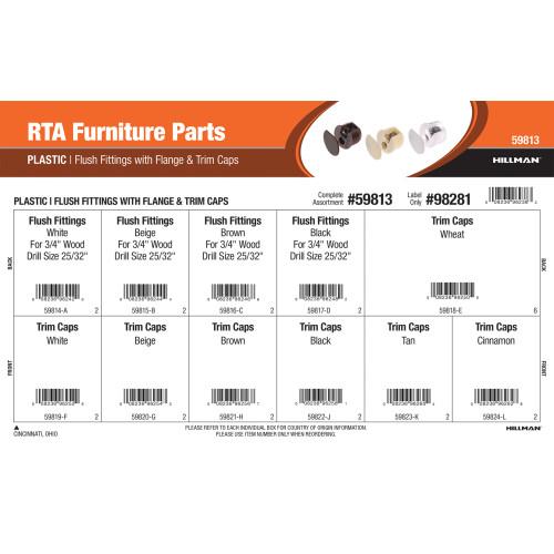 RTA Furniture Parts Assortment (Plastic Flush Fittings with Flange & Trim Caps)