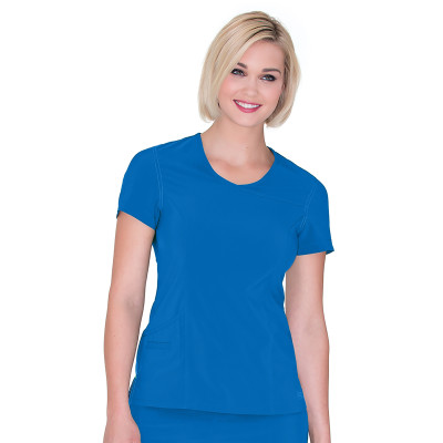 Urbane Performance Mock Wrap Scrub Top for Women:3 Pocket, Modern Tailored Fit, Extreme Stretch, Moisture Wicking Medical Scrubs 9014-