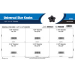 "Universal Star Knobs Assortment (1-3/4"" & 2-1/4"" Diameter)"