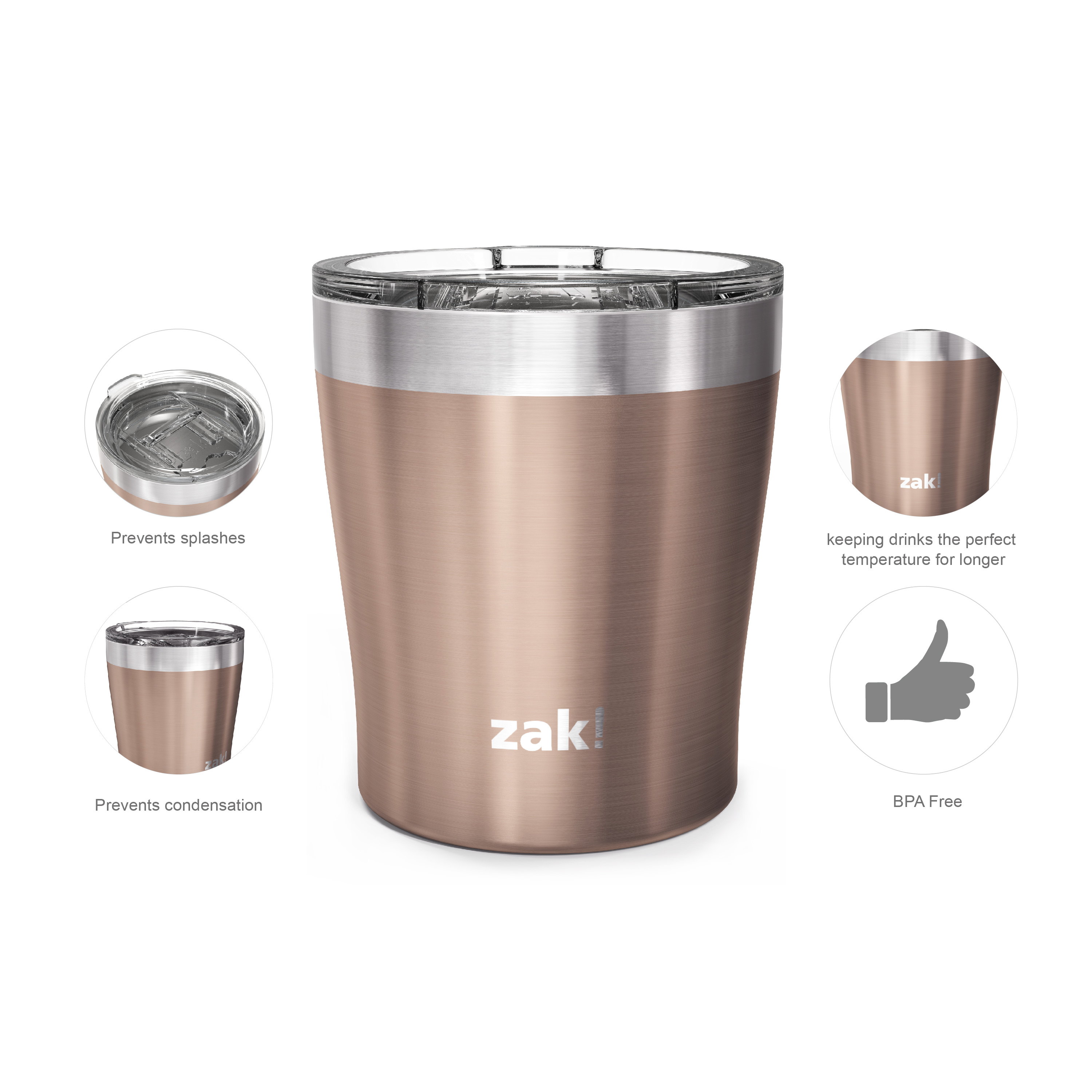 Dayton 10 ounce Vacuum Insulated Stainless Steel Tumbler, Rose Gold, 2-piece set slideshow image 4