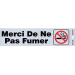 "French Adhesive No Smoking Sign with Symbol (2"" x 8"")"