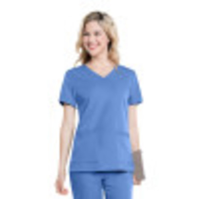Urbane Ultimate Rounded V-Neck Scrub Top for Women: Contemporary Slim Fit, Luxe Soft Stretch Fabric, Medical Scrubs 9063-Urbane