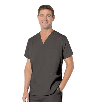 Landau Essentials 5 Pocket Scrub Top for Men: Classic Relaxed Fit, V-Neck Durable Medical 7489-