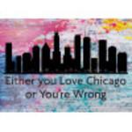 """Aluminum Love Chicago Sign 10"""" x 14"""""""