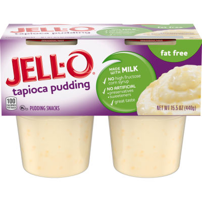 Jell-O Ready to Eat Fat Free Tapioca Pudding Cups, 15.5 oz Sleeve (4 Cups)