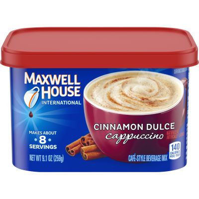 Maxwell House International Cinnamon Dulce Cappuccino Cafe Beverage Mix, 9.1 oz Canister