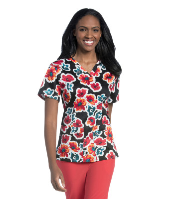 Urbane Essentials Cross-over V-Neck Scrub Top for Women: 2 Pocket, Modern Tailored Fit, 2-Way Stretch Banded 9051-