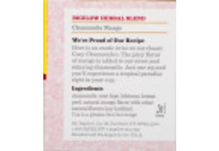 Ingredient panel oif Chamomile Mango Herbal Tea box