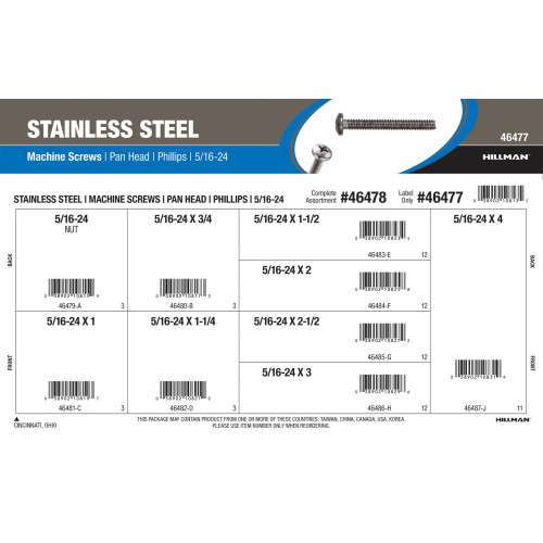 Stainless Steel Phillips Pan-Head Machine Screws Assortment (5/16