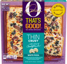 O, That's Good! Thin Crust Pizza, White with Mushrooms, 14.7 oz