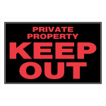 "Private Property Keep Out Sign, 8"" x 12"""