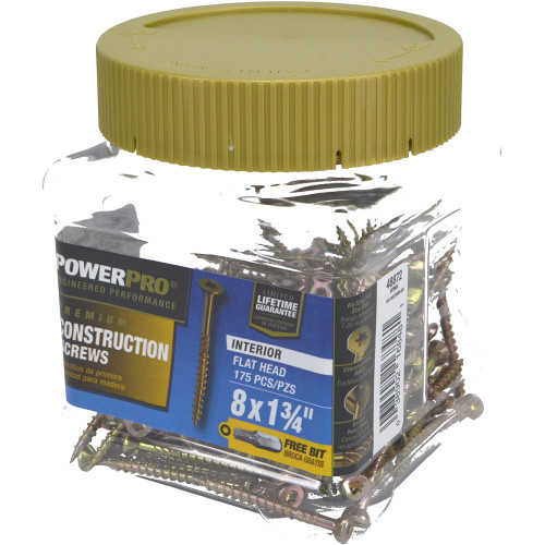 Power Pro Premium Interior Wood Screws - Small Jar (#8 x 1-3/4