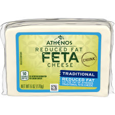 Athenos Reduced Fat Chunk Feta Cheese 6 oz Bag