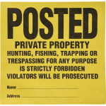 "Posted Private Property Tyvek Sign (11"" x 11"") 25 Pack"