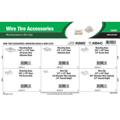 Wire Tie Accessory Assortment (Mounting Bases & Wire Clips)