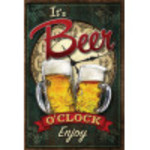 Aluminum It's Beer O'Clock Sign 12x18in