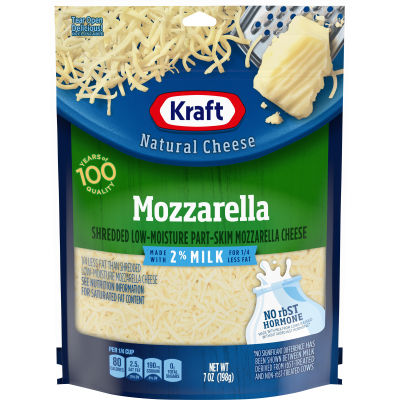 Kraft Shredded Mozzarella 2% Milk Natural Cheese 7 oz Pouch