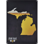 "Aluminum Drink Local MI Beer Sign, 10"" x 14"""