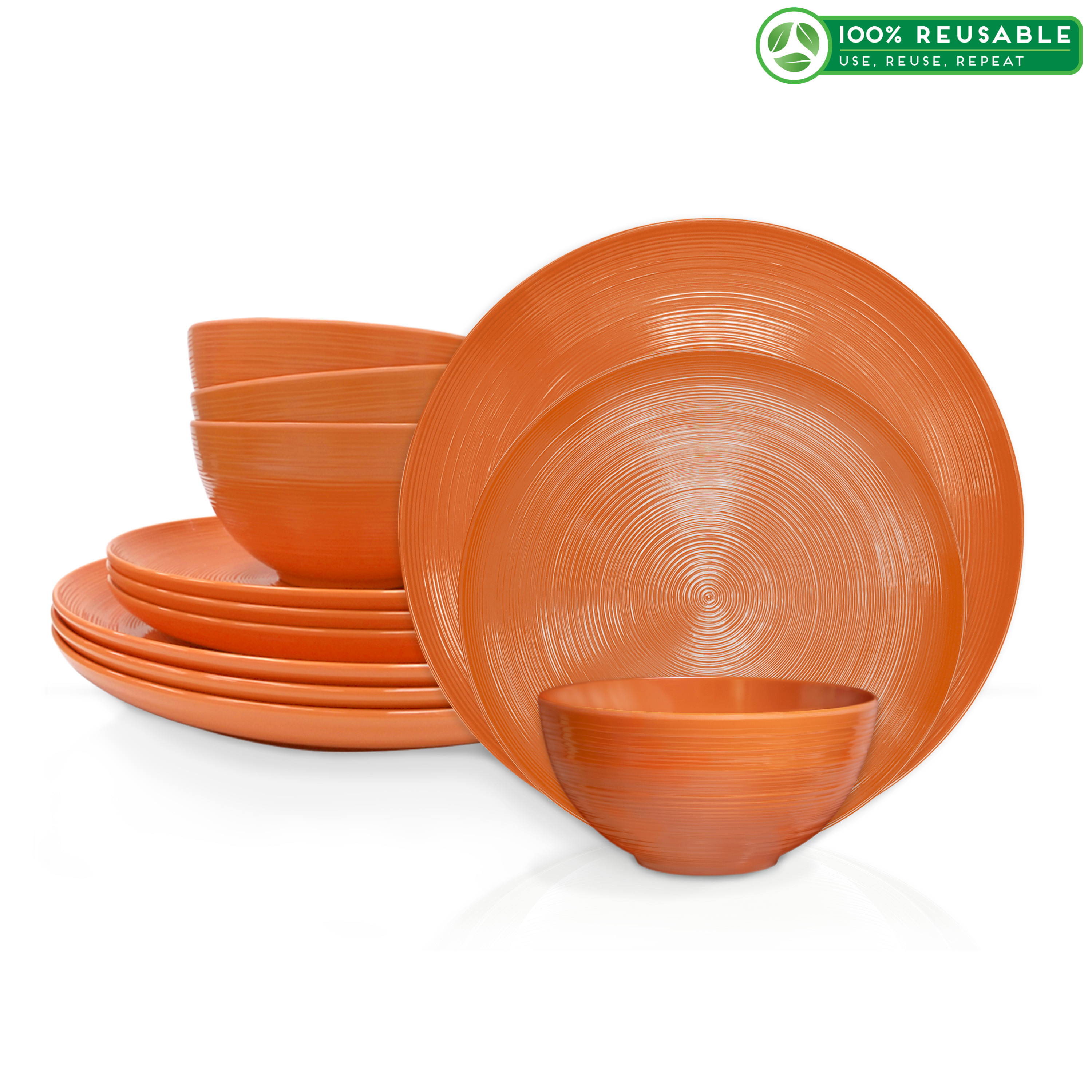 American Conventional Plate & Bowl Sets, Orange, 12-piece set slideshow image 1