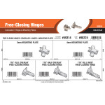 Free-Closing Hinges Assortment (Concealed Hinges & Mounting Plates)