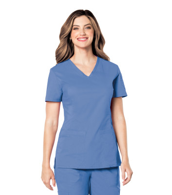 Landau Prewashed 2 Pocket Scrub Top for Women: V-Neck Stretch Medical 4125-Landau