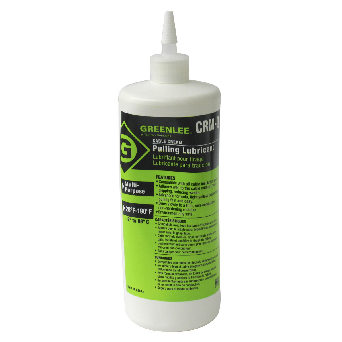 Greenlee CRM-Q Cable-Cream™ Cable Pulling Lubricant, 1-Quart Squeeze Bottle