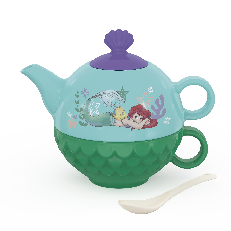 Disney The Little Mermaid Sculpted Ceramic Tea Set, Princess Ariel, 4-piece set slideshow image 1