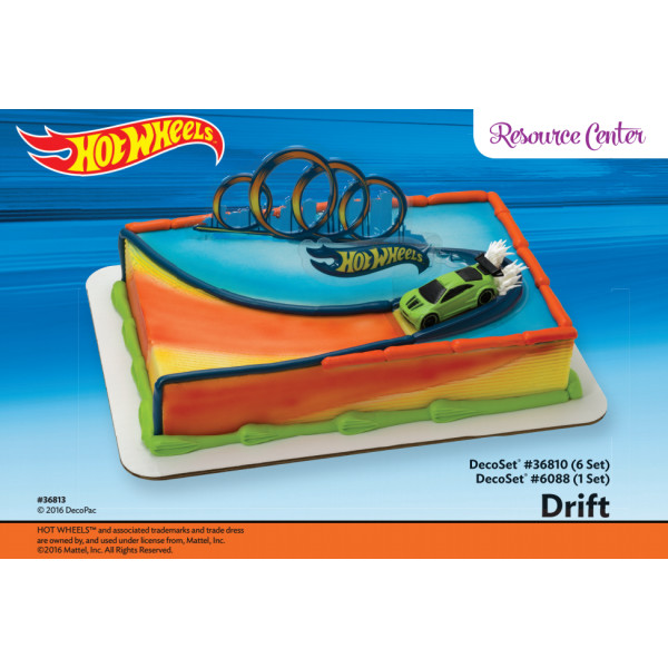 Hot Wheels Drift Cake Decorating Instruction Card