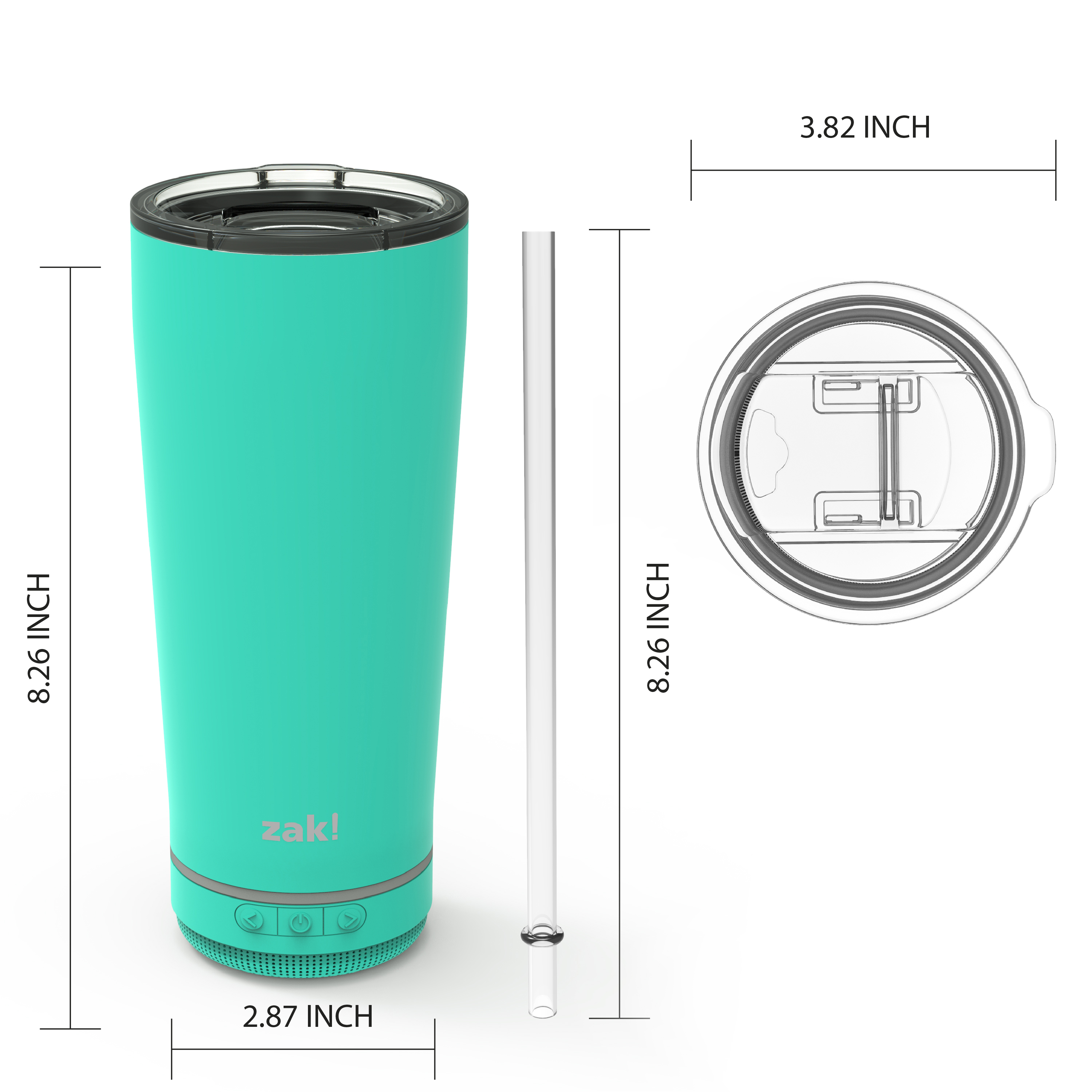 Zak Play 18 ounce Stainless Steel Tumbler with Bluetooth Speaker, Teal slideshow image 8