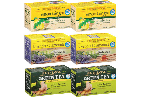 Mixed Case of 6 Bigelow Probiotic Teas - Case of 6 boxes- total of 108 teabags