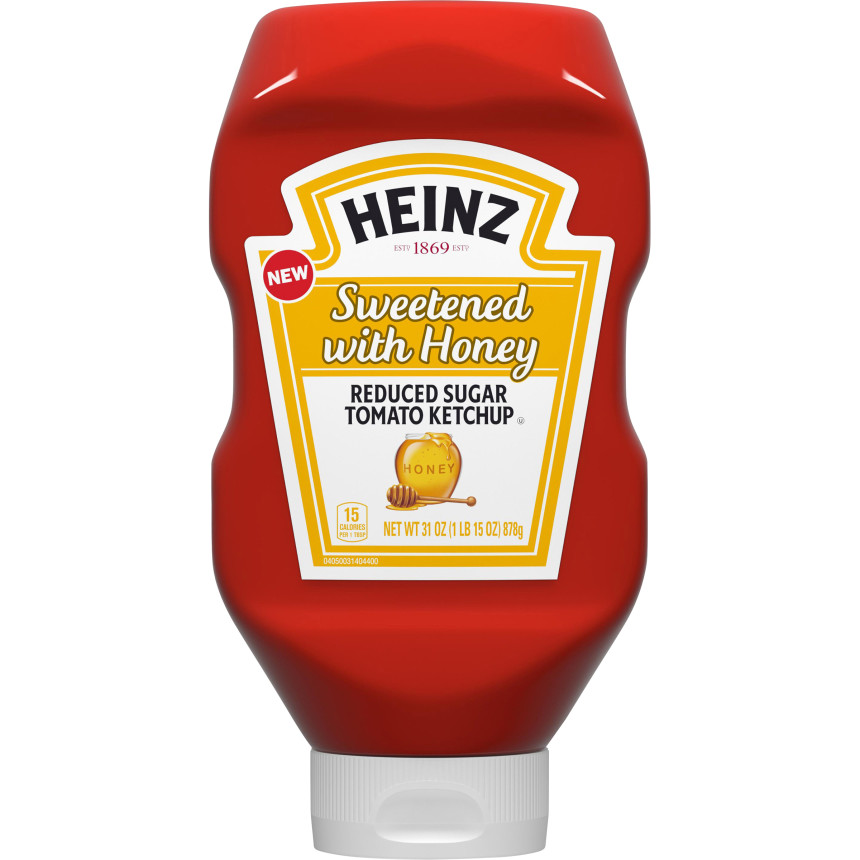 Heinz Sweetened with Honey Reduced Sugar Tomato Ketchup, 31 oz Bottle image