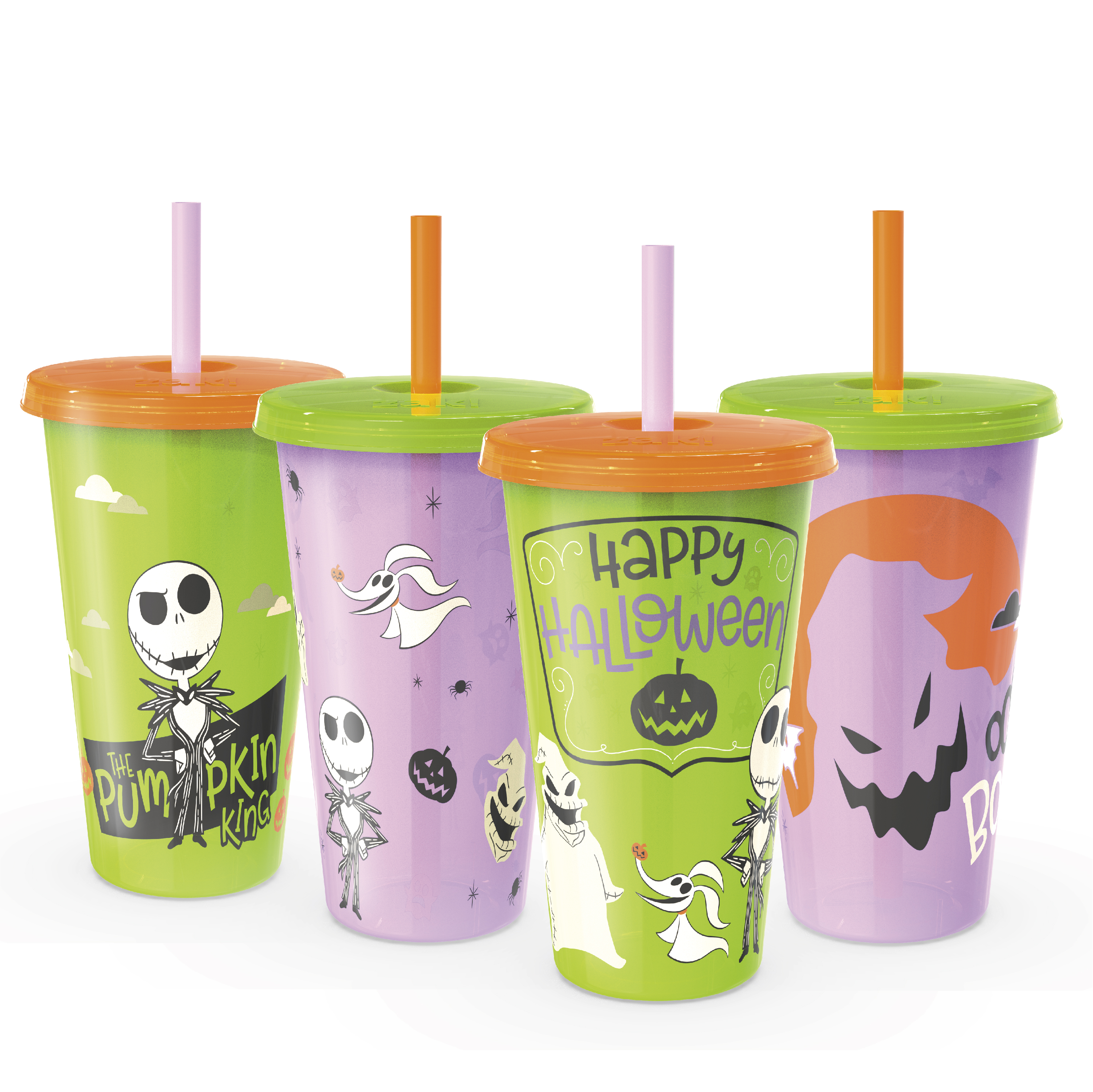 The Nightmare Before Christmas 24 ounce Reusable Plastic Kids Tumbler, Jack Skellington, Oogie Boogie & Zero, 4-piece set slideshow image 2