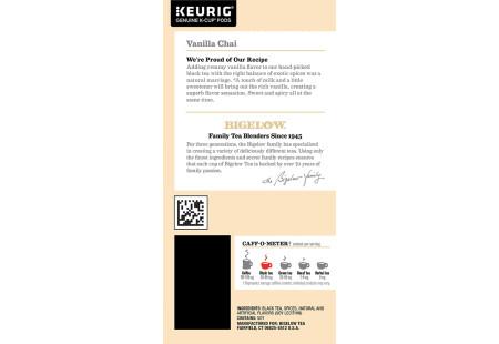 Ingredient panel Bigelow Vanilla Chai Tea K-Cups box for Keurig