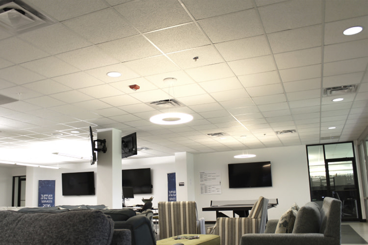 Office with suspended fixture lighting