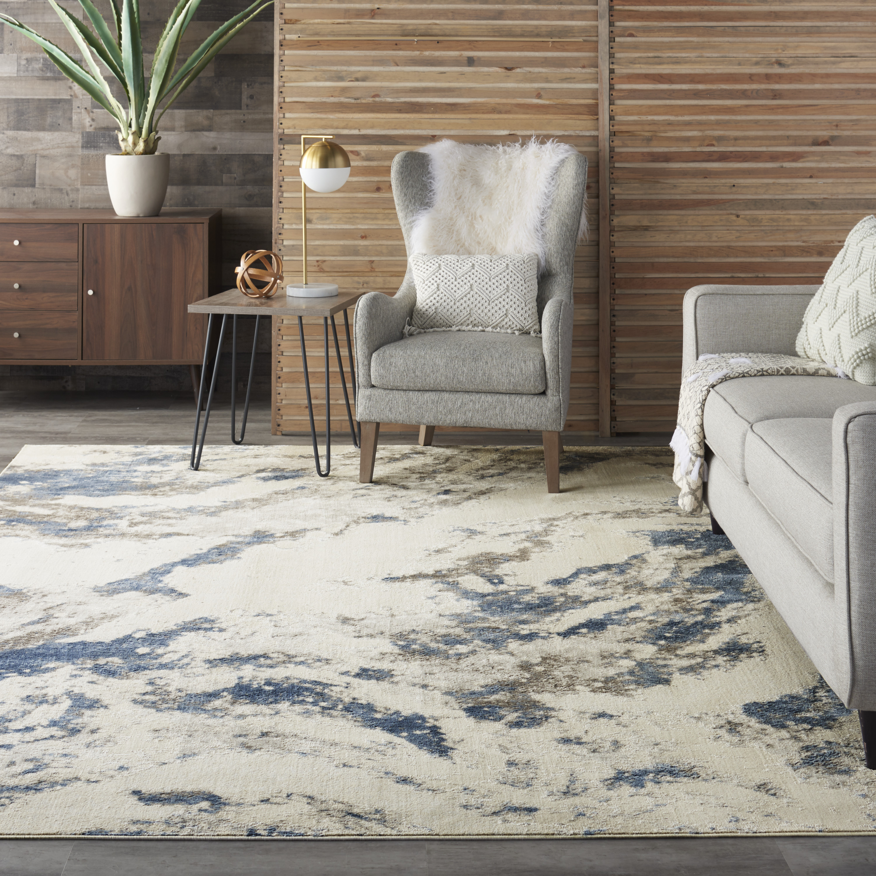 Nourison Silky Textures SLY03 Blue Ivory Grey Rug