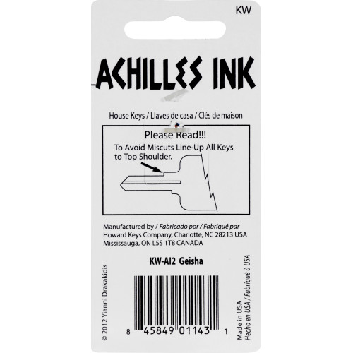 Achilles Ink Geisha Key Blank Kwikset 66/97 KW1/10