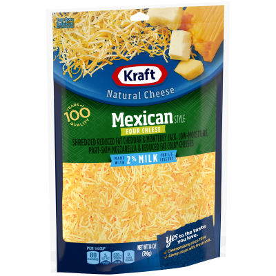 Kraft Mexican Style 2% Milk Shredded Natural Four Cheese 14 oz Pouch
