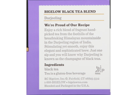 Ingredient panel of Darjeeling Tea box