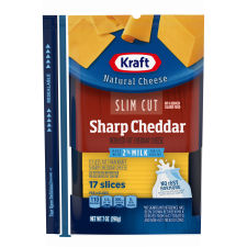 Kraft Slim Cut Sharp Cheddar 2% Milk Natural Cheese Slices 17 slices - 7 oz Wrapper