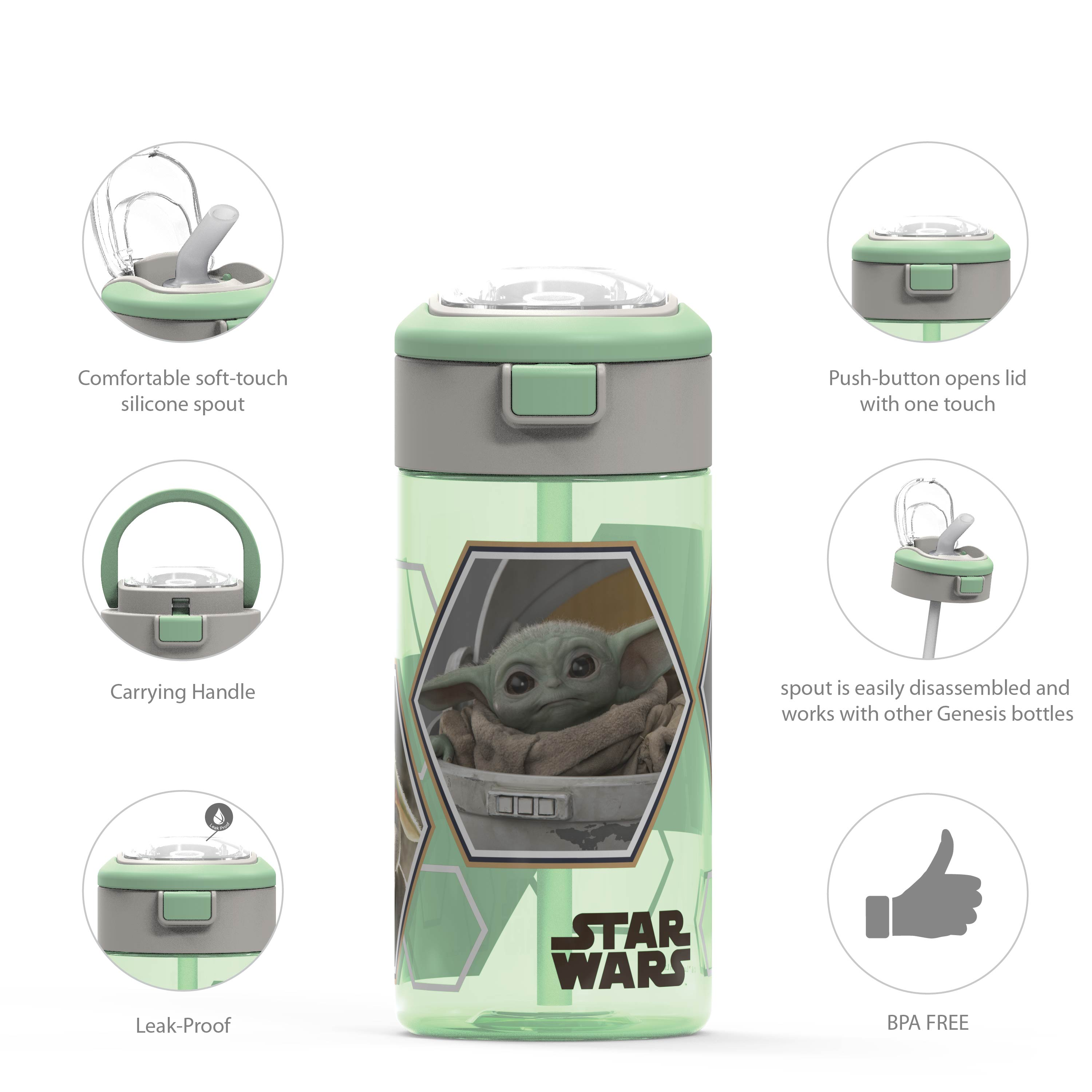 Star Wars: The Mandalorian 18 ounce Reusable Water Bottle with Straw, The Mandalorian slideshow image 4