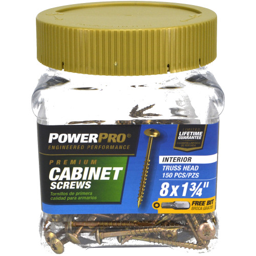 Power Pro Interior Cabinet Mounting Screws #8 x 1-3/4