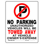 "No Parking Sign (19"" x 15"")"