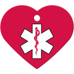Large Heart Medical ID Red and White Quick-Tag