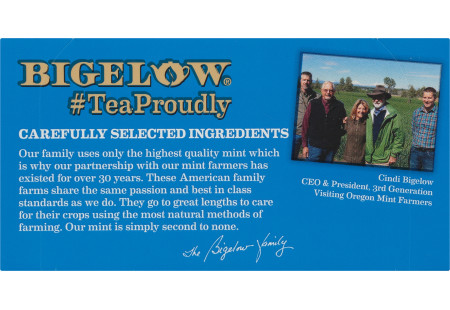 Bigelow Peppermint Herbal Tea bag in foil overwrap