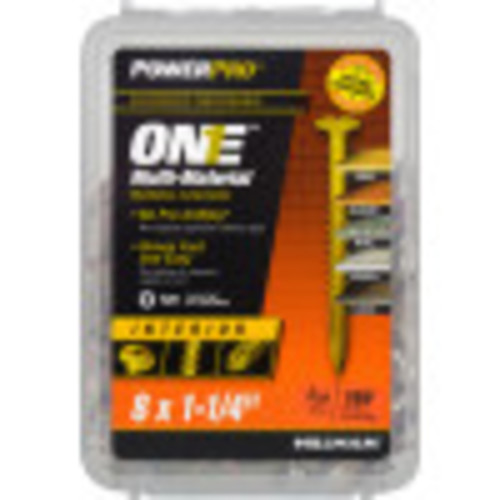 Power Pro ONE Multi-Material Screw Interior Wafer Head Yellow Zinc-Plated #8 x 1-1/4